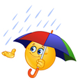 emoticon with umbrella vector image vector image