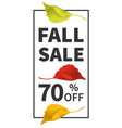 fall sale poster with leaves of yellow red green vector image