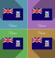 Flags Falkland Islands Set of colors flat design vector image vector image