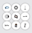 flat icon component set of auto component gasket vector image vector image
