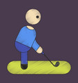 flat shading style icon stick figure golf vector image