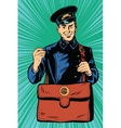 Friendly retro postman in blue uniform with bag vector image