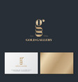 gold gallery monogram double details business card vector image vector image