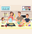 happy family cooking mother and father with kids vector image vector image