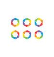 hexagon colorful set logo design concept vector image vector image