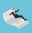 isometric businessman slipping and falling on tax vector image