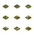 isometric road set of road footer strip and vector image vector image