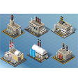 Isometric Set of Energy Industries Buildings vector image vector image