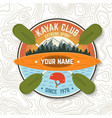 kayak club concept for patch vector image vector image