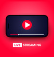 live stream concept with play button on smartphone vector image vector image