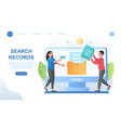 male and female characters searching for records vector image