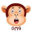 monkey is having negative surprise on white vector image