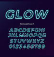 neon light modern font neon tube letters and vector image vector image