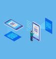 qr code verification isometric barcode mobile vector image vector image