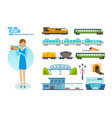 railway locomotive wagons speed trains station vector image