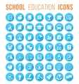 Round Flat White School Icons Silhouettes with vector image vector image