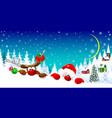santa and deer on christmas night 1 vector image vector image