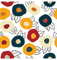 seamless autumn doodle flowers background vector image