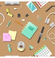 Seamless Background with Office Tools vector image