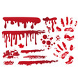 set realistic bloody streaks handprint in the vector image