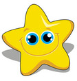 smile face cute yellow star isolated on white vector image vector image