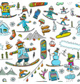 snowboard time seamless pattern for your design vector image vector image