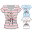 T-shirt with fashion girl and bike vector image vector image