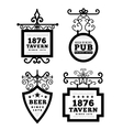 Tavern sign metal frame with curly elements vector image