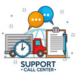 truck time delivery support service vector image