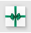 White Gift Box with Bright Green Bow and Ribbon vector image vector image