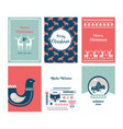 winter folk art greeting card set in scandinavian vector image vector image