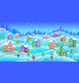 winter landscape with snowcovered houses children vector image vector image