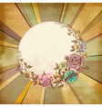 Retro floral round frame over old paper background vector image