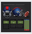 american football helmet with team plan vector image vector image