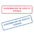 assembled in south korea textile stamps vector image