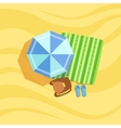 Backpack Flip-Flops And Umbrella Spot On The vector image vector image