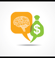 Brain and dollar symbol in message bubble vector image vector image