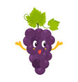 bright poster with cute grape showing tongue vector image