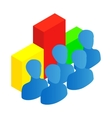 Business team with chart icon isometric 3d style