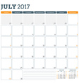 Calendar Planner Template for July 2017 Week vector image vector image