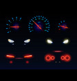car headlights and dashboard scales set vector image vector image