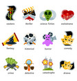 cinema genre icons set flat comedy drama vector image