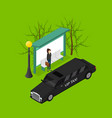 city public transport vip black taxi 3d isometric vector image