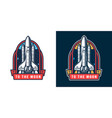 colorful space rocket launch badge vector image vector image
