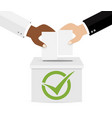 concept of voting hands putting voting paper in vector image