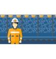 Confident miner in hardhat vector image vector image