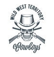 cowboy skull in hat and crossed rifles vector image vector image