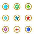 creative star icons set cartoon style vector image
