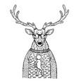 deer in sweater engraving vector image vector image