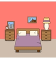 Design of room - bedroom with bed two bedside vector image